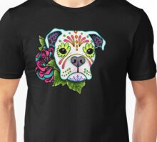 Boxer in White- Day of the Dead Sugar Skull Dog Unisex T-Shirt