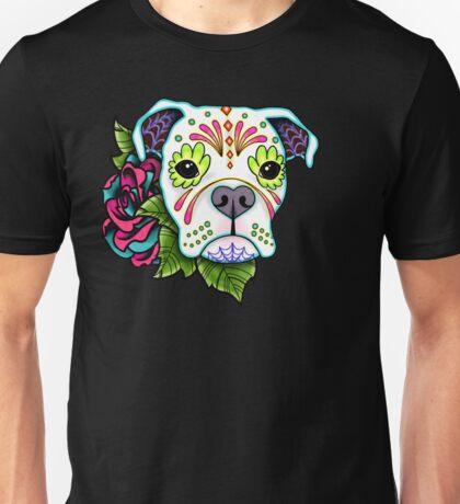 Boxer in White- Day of the Dead Sugar Skull Dog Unisex T-Shirt