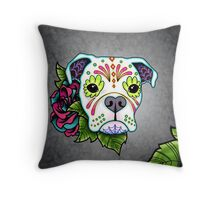 Boxer in White- Day of the Dead Sugar Skull Dog Throw Pillow