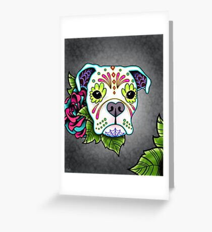 Boxer in White- Day of the Dead Sugar Skull Dog Greeting Card