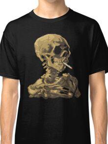 Van Gogh Pixel Art - Skull of a Skeleton with Burning Cigarette Classic T-Shirt