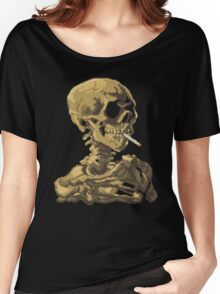 Van Gogh Pixel Art - Skull of a Skeleton with Burning Cigarette Women's Relaxed Fit T-Shirt