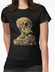 Van Gogh Pixel Art - Skull of a Skeleton with Burning Cigarette Womens Fitted T-Shirt