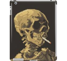 Van Gogh Pixel Art - Skull of a Skeleton with Burning Cigarette iPad Case/Skin