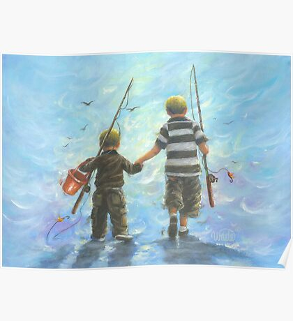 TWO BROTHERS GOING FISHING Poster