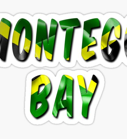 Montego Bay Word With Flag Texture Sticker