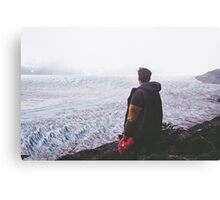 man watching the snow mountains Canvas Print