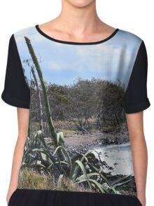 Coastal Plants and Foliage Chiffon Top