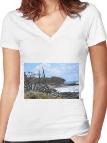 Coastal Plants and Foliage Women's Fitted V-Neck T-Shirt