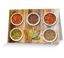 Spices in Pots on a Distressed Wooden Board Greeting Card