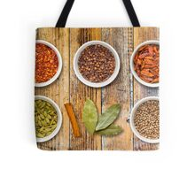 Spices in Pots on a Distressed Wooden Board Tote Bag