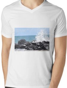 Waves Crashing on the Rocks Mens V-Neck T-Shirt