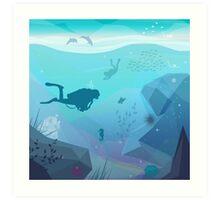 Underwater Diving Landscape Art Print