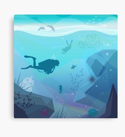 Underwater Diving Landscape Canvas Print