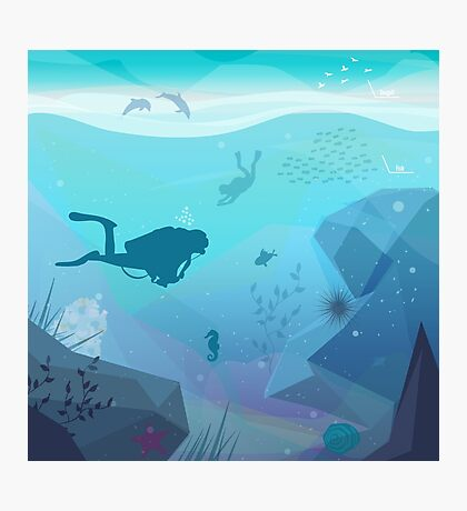 Underwater Diving Landscape Photographic Print
