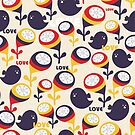 Retro birds with love by Ekaterina Panova
