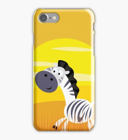 Cute Kids Illustration of Zebra iPhone Case/Skin