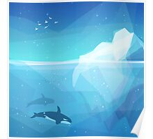 Landscape of northern and Antarctic life Poster