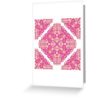 Pink ornamented squares Greeting Card