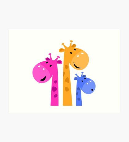 Cute African Kids Giraffe family - colorful mother, father and kid Art Print
