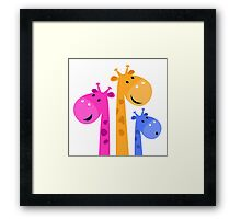 Cute African Kids Giraffe family - colorful mother, father and kid Framed Print