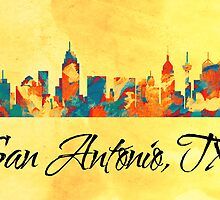 San Antonio Texas Skyline by T-ShirtsGifts