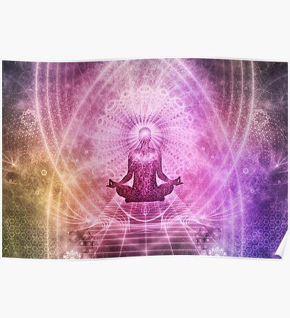 Yoga Meditation Colorful Art Illustration Poster
