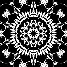 Black and White Flower Kaleidoscope Pillow by red addiction
