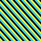 Black Blue Yellow Stripe Pattern Pillow by red addiction
