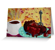 Coffee And Cherry Pie Greeting Card
