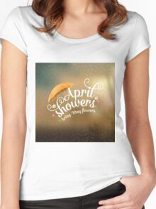 April showers bring May flowers design Women's Fitted Scoop T-Shirt