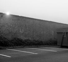 Car park in mist by Rhys Herbert