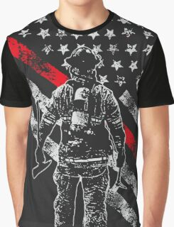 Firefighter Exclusive Thin Red Line, American Flag T-Shirt Graphic T-Shirt