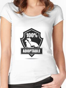 100% adoptable dog and cat pet adoption symbol Women's Fitted Scoop T-Shirt