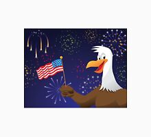 Bald Eagle with American flag and fireworks Unisex T-Shirt