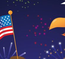 Bald Eagle with American flag and fireworks Sticker