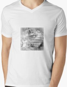 Yin Yang Softness and Transparency in Black and White Mens V-Neck T-Shirt