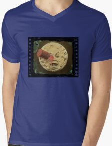 Vintage Trip to the Moon colour Mens V-Neck T-Shirt