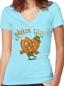 Gluten Tag! Women's Fitted V-Neck T-Shirt
