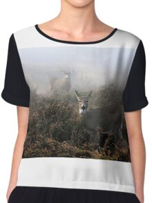 The rut is on! - White-tailed Buck and doe Chiffon Top