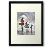 RAINY DAY WALK WITH MOM Framed Print