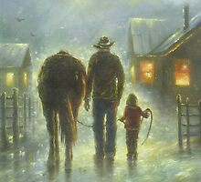 NIGHT RIDE DAD DAUGHTER HORSE by VickieWade