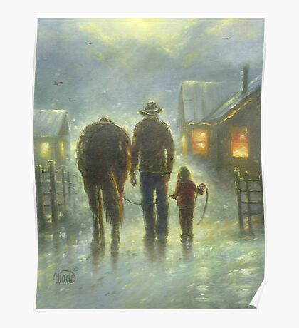 NIGHT RIDE DAD DAUGHTER HORSE Poster