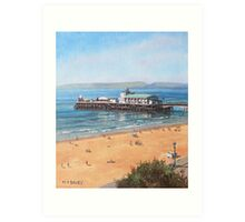 Bournemouth Pier summer morning from cliff top Art Print