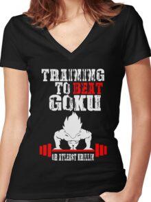 Training To Beat Goku Funny Gag Shirt Fro Men And Women Women's Fitted V-Neck T-Shirt