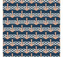 Retro anchors symbol on navy background Photographic Print