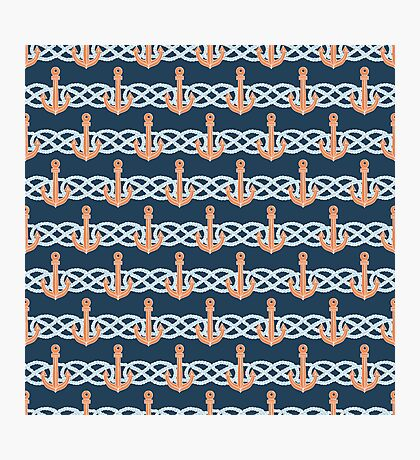 Retro anchors symbol on navy background Photographic Print