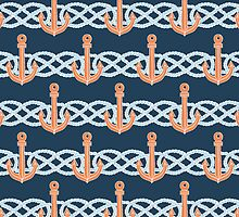 Retro anchors symbol on navy background by Olena Syerozhym