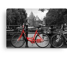 Red Bicycle By The Canal  Canvas Print