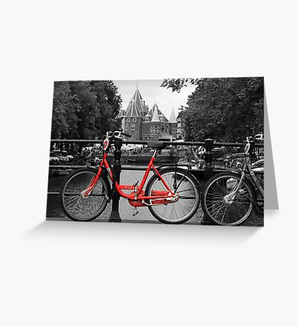 Red Bicycle By The Canal  Greeting Card